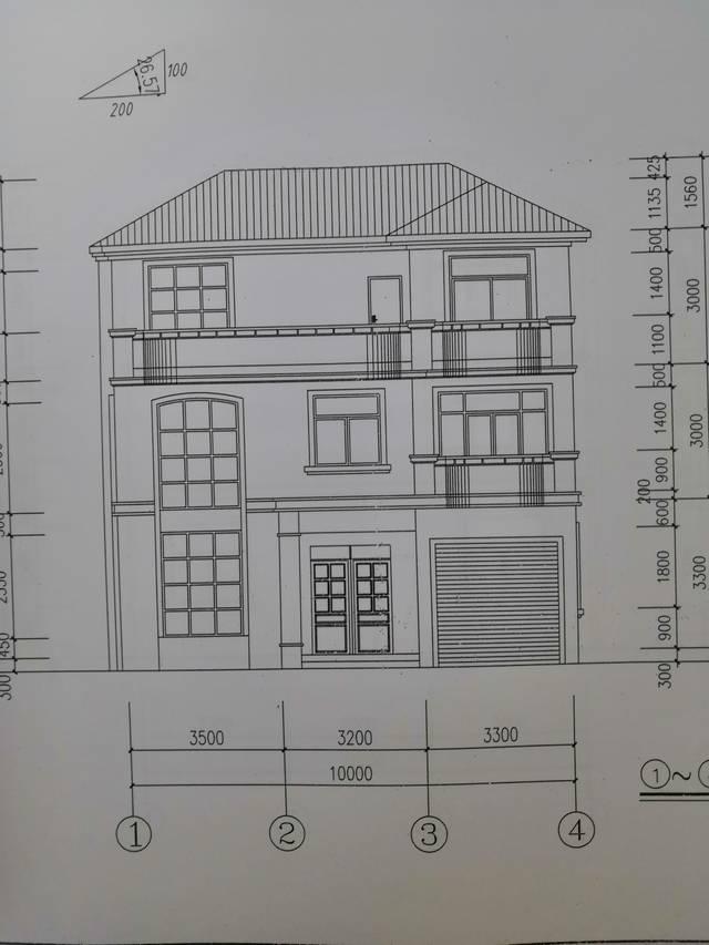 9米砖混建筑设计图,占地面积约100平方米三层带车库别墅设计