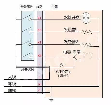 浴霸接线图详细图解 浴霸安装时应该如何接线