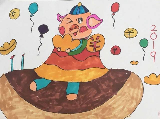120个小朋友现场画生肖迎猪年图片