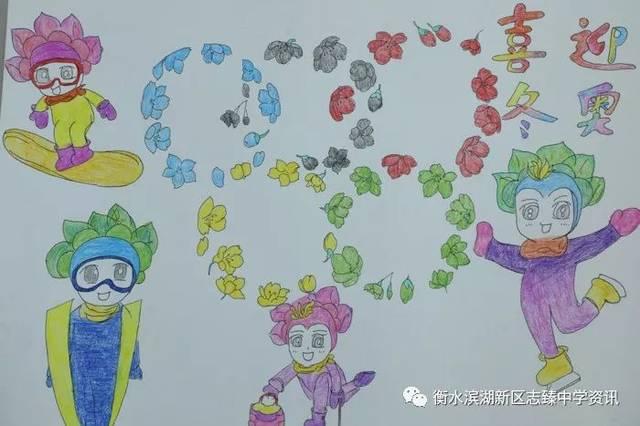 """""""迎接冬奥,从我做起""""——志臻学子用画笔为北京冬奥会图片"""