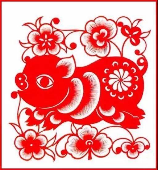 猪年剪纸:花猪迎春,新年大吉!图片