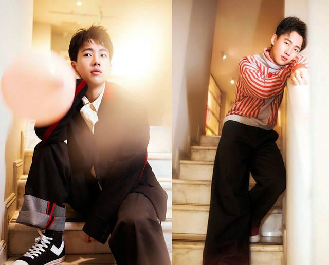 1月29日,郭麒麟为某杂志拍摄了一组写真照片,和他平日里的风格大不一
