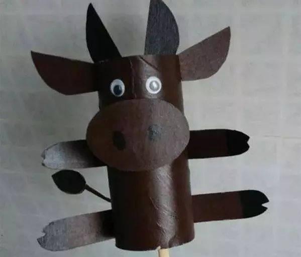 创作发明|儿童手工制作 纸筒diy的玩具小牛做法图解教程