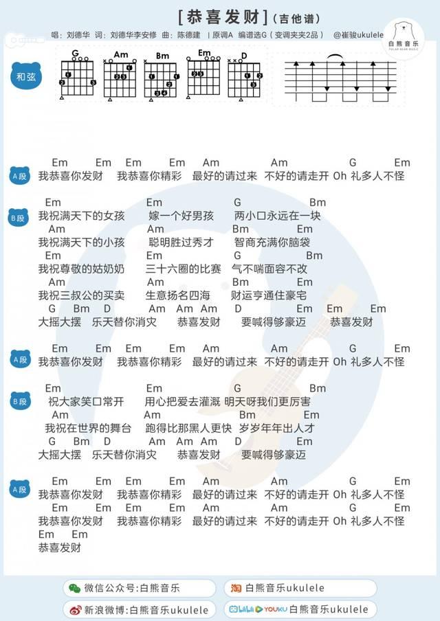 春节必备〈恭喜发财〉刘德华/尤克里里&吉他弹唱谱