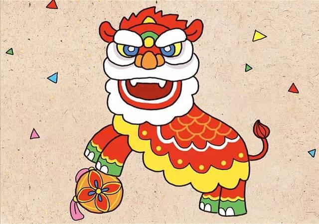 热热闹闹迎新春!喜庆的舞狮子简笔画图片