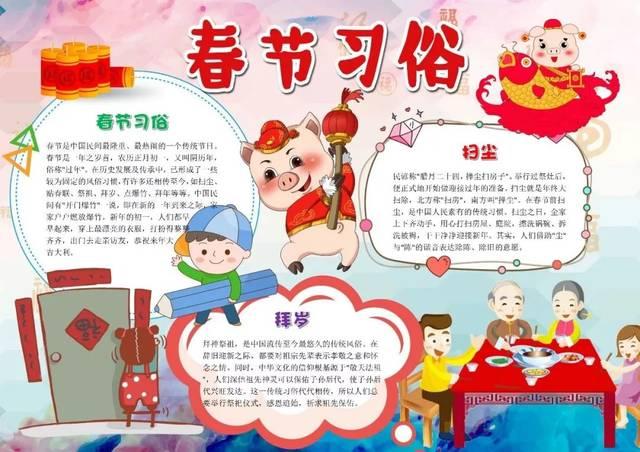 超实用春节手抄报合集,假期陪孩子动动手吧!图片