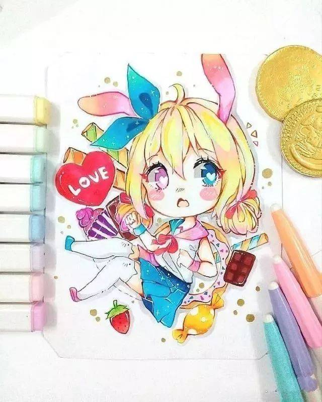 超可爱的q版马克笔手绘图,用马克笔画出很萌的小人物