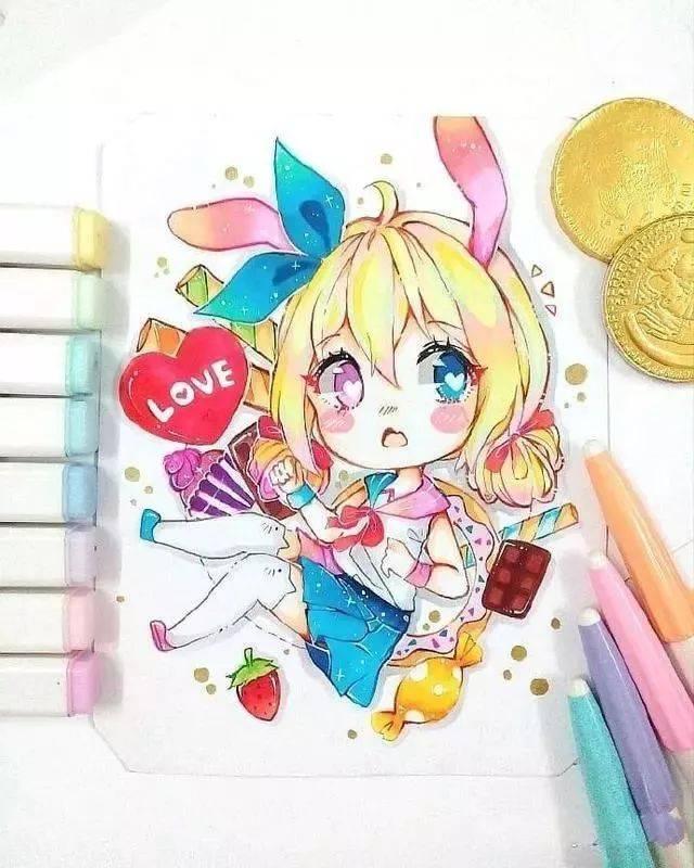 超可爱的q版马克笔手绘,很萌很萌!漫画陈浩南图片