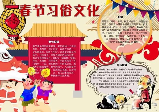 猪年春节手抄报模板,快为孩子收藏备用!图片