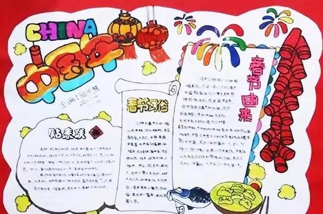 春节手抄报合集,假期陪孩子动动手吧!图片