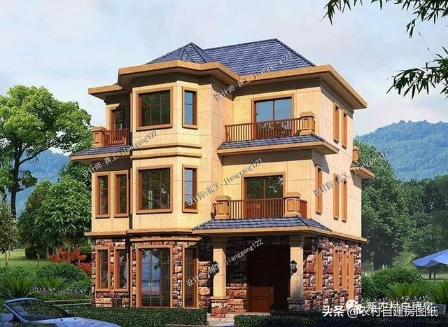 这是一款新中式风格农村别墅,简约的窗户搭配中式元素的窗花,非常图片