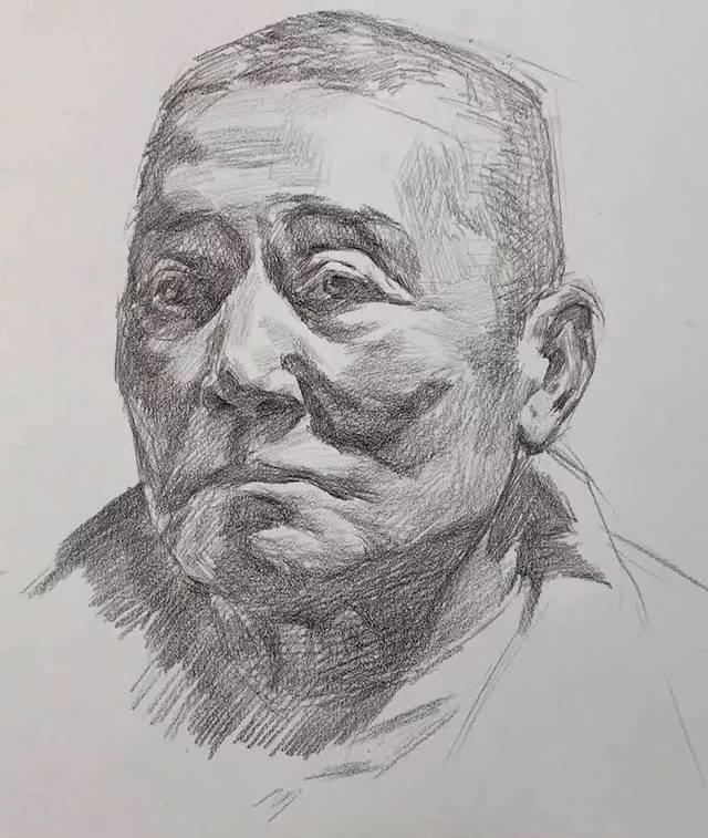 第三二四集 朱传奇教你画强光源的利落寸头男老年素描头像