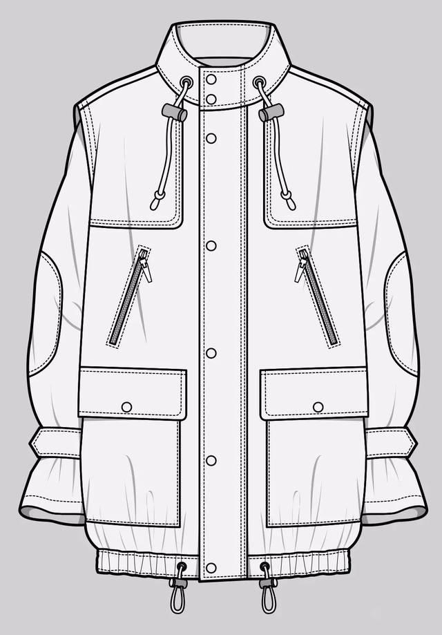款式设计 | 品牌服装款式图正背面+绘制步骤讲解图片