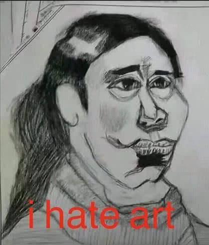 原创美术生对美术的恨意藏不住了,作品都是表情包,你不怕老师看到吗图片