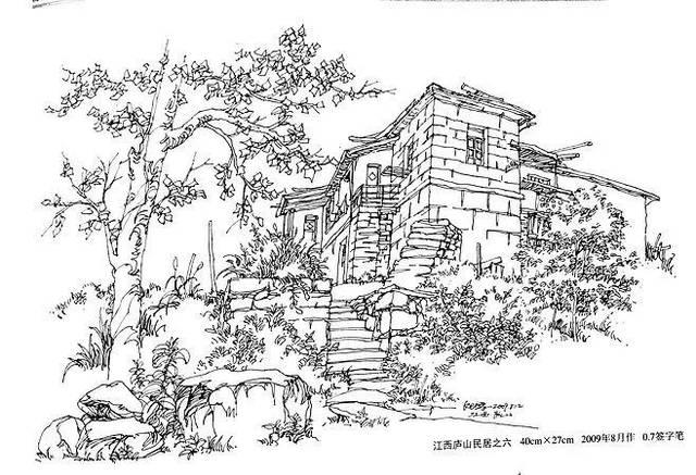 夏克梁   风景建筑钢笔画