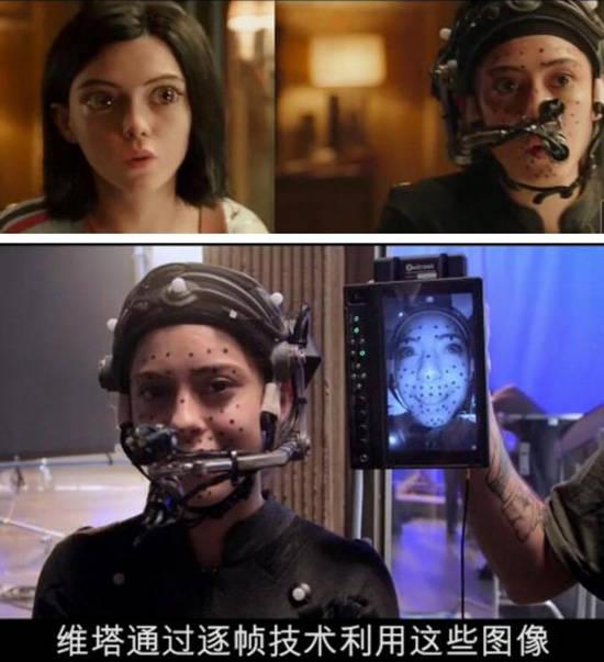 为了创造阿丽塔这一角色,卡梅隆把动作捕捉技术和面部表情捕捉技术图片