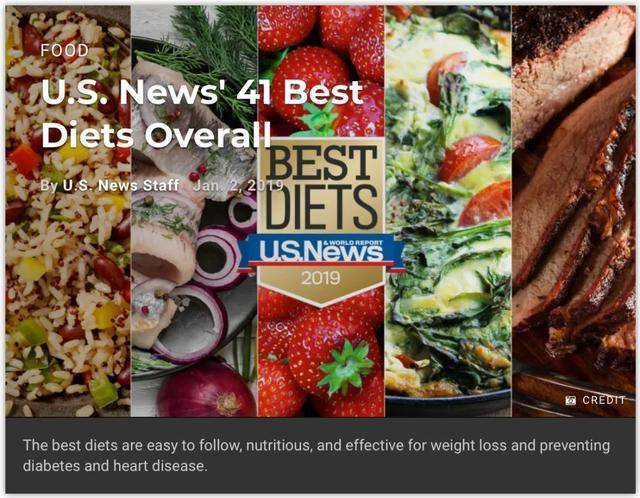1月2日美国《美国新闻与世界报道》网站,公布了2019年最佳饮食排名