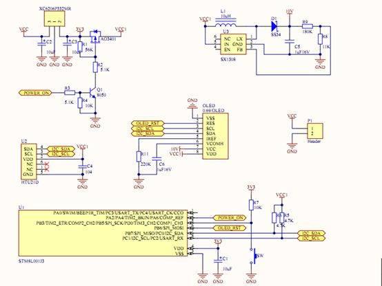 从下面的电路图中可以看出,由stm8l001j3m3做为主控利用其i2c模块pin7