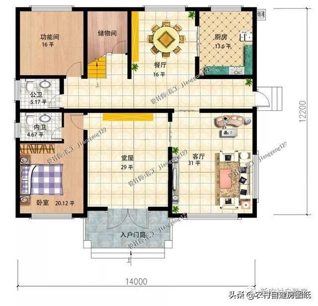 11款二层农村自建房施工图,8套带堂屋,第3套好看又容易建