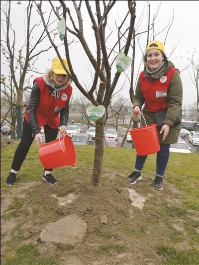 南通中创区紫琅湖边 中外志愿者集体植树