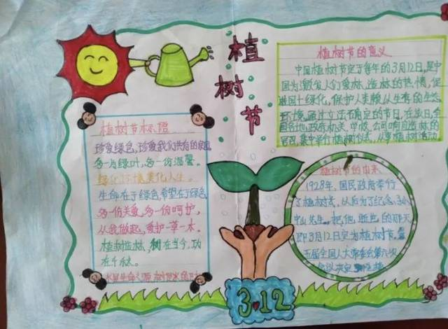 """让天空更蓝,让大地更绿,学校开展了""""植树节,环保教育""""为主题的手抄报图片"""