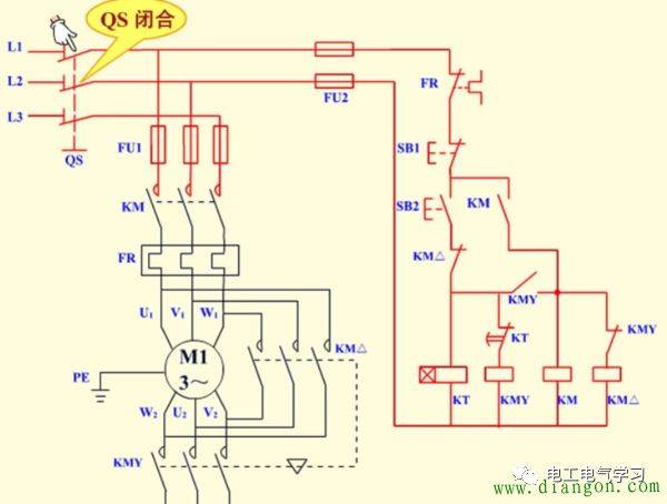 (2)电动机y型接法降压启动.