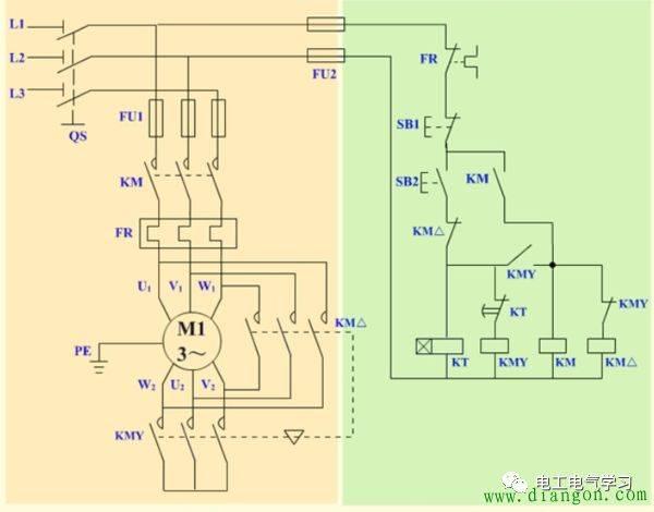 1,时间继电器自动控制星三角形降压启动电路接线图: (1)合上qs,电源