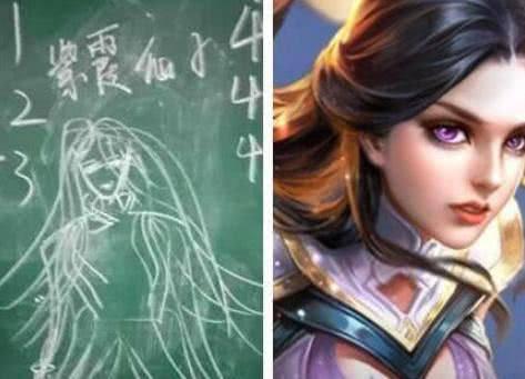 王者荣耀:初中生手绘英雄黑板报,看到最后一张,老师忍