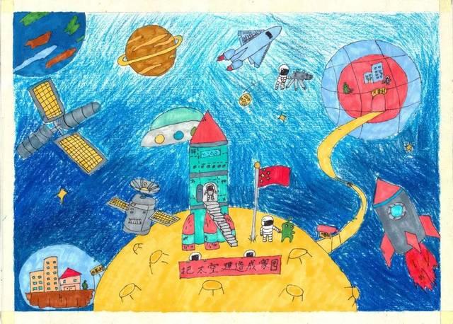 我的太空梦——湘一阳明学校太空画创作活动图片