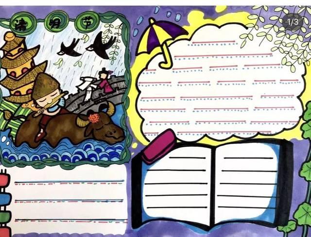 清明节的传统习俗 诗词 手抄报合集,孩子一定用得着!