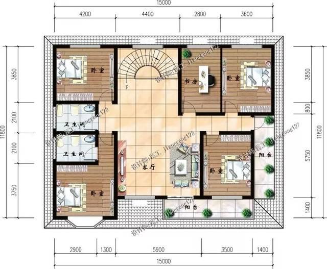 15x12米二层房屋设计图纸 带旋转楼梯 造价40万以内