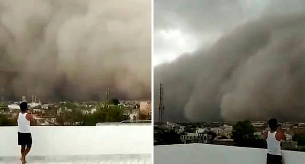 两会时间,沙尘暴席卷印度北部久鲁市 沙浪滔天暗无天日,小伴龙