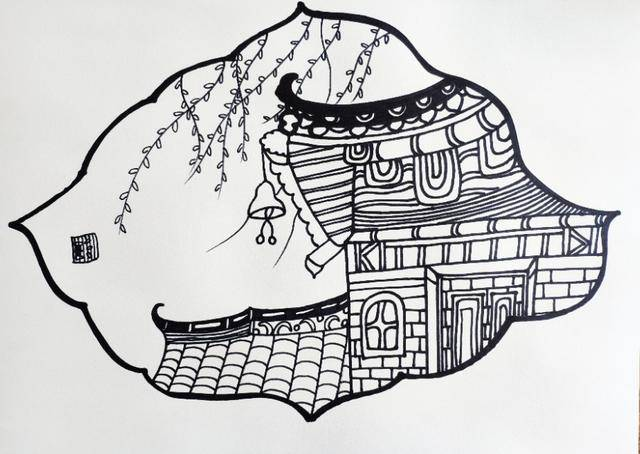 创意少儿线描:创意儿童画也有新中式风格?古生古色的线描课程