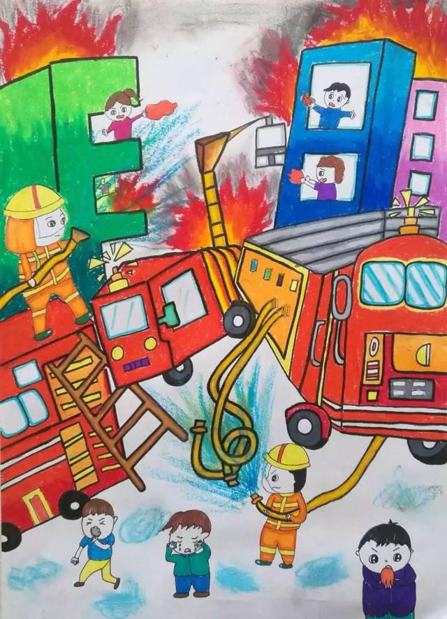 【小画家】快来欣赏吧!第三届儿童消防绘画作品展示(十五)图片