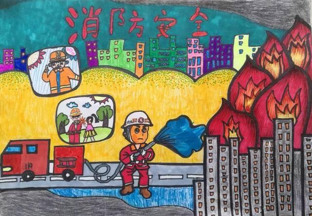 【小画家】快来欣赏吧!儿童消防绘画作品展示图片