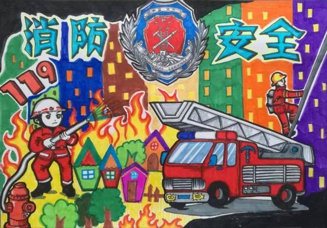 【小画家】快来欣赏吧!儿童消防绘画作品展示
