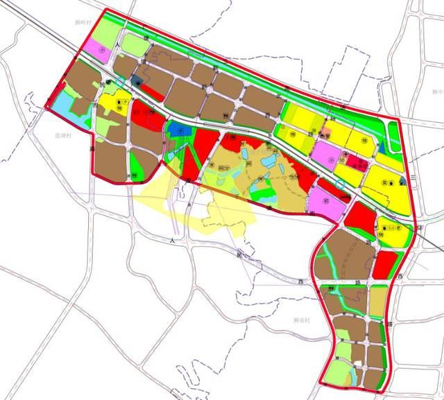 片区规划图 功能定位 狮山博爱湖核心区西拓发展地区,城市轨道站点