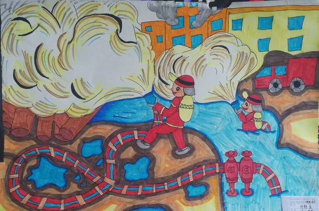 """""""消防安全 伴我成长""""主题绘画优秀作品展播图片"""