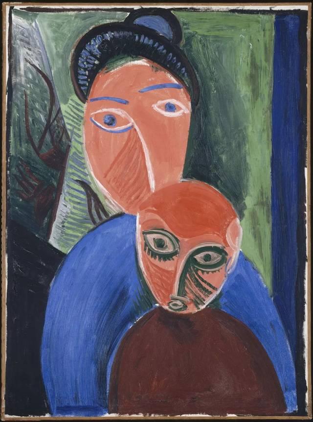 《母与子》,巴黎,1907年夏,布面油画,81x60 cm,国立巴黎毕加索博物馆