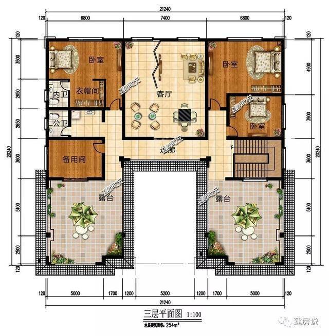 三层:客厅,3个卧室,衣帽间,备用间,2个洗手间,露台 微信公众号:建房说