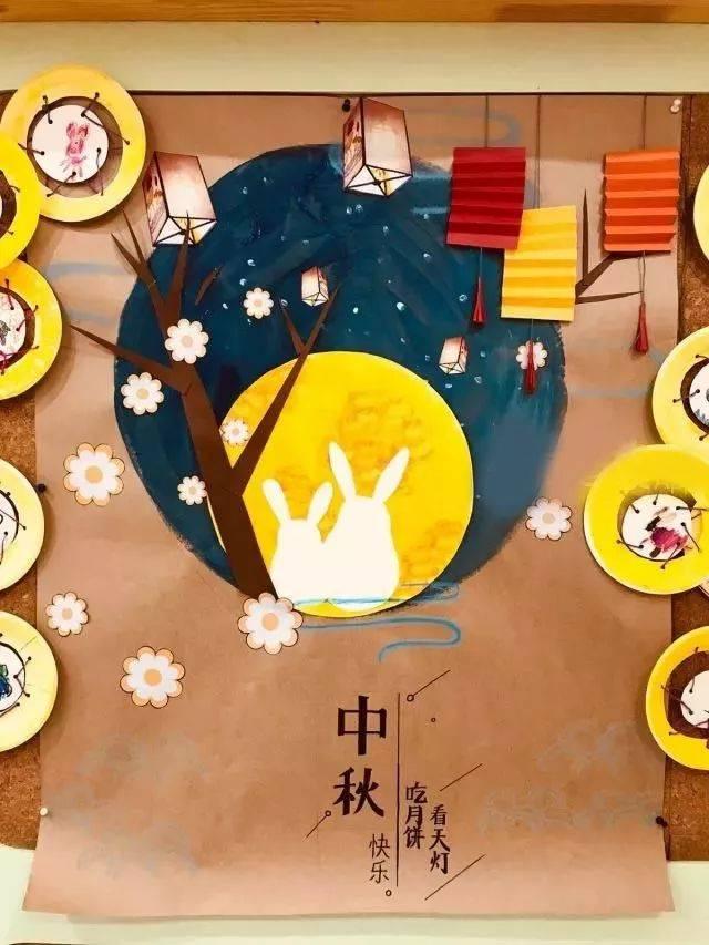 中秋节环创 | 幼儿园教室主题墙布置,活动展板,粘土月饼,手抄报参考图片