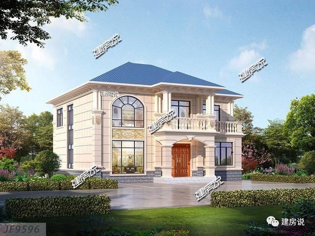 建房说二层欧式农村别墅设计图,占地160平图片