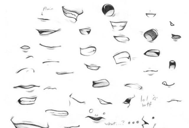 下面我们就看看常见嘴巴的画法: 动漫人物中的鼻子相对比较好画,因为图片