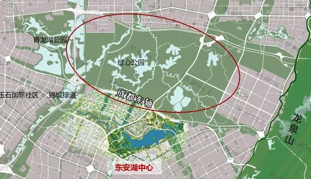 """中央绿心片区规划图(图中的""""绿心公园""""即中央绿芯,仅供参考,以政府"""