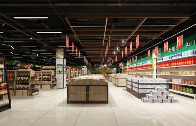 超市v超市,小型生鲜超市设计装修效果图案例合集平面设计和市场营销图片