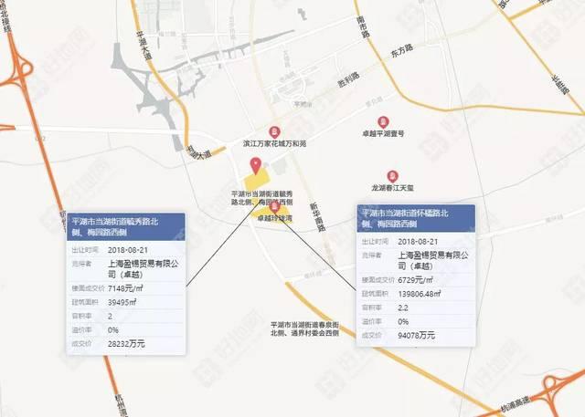 8%,濱江集團競得嘉興平湖南市新區1宗宅地,樓面價7628元/㎡圖片