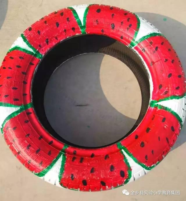 【霍堌幼儿园】创意彩绘轮胎,扮靓霍堌幼儿园图片
