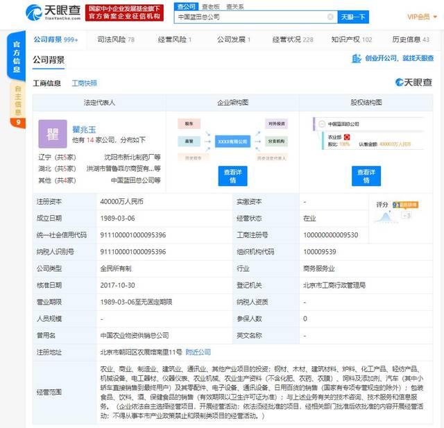 中国蓝田总公司被列入经营异常名