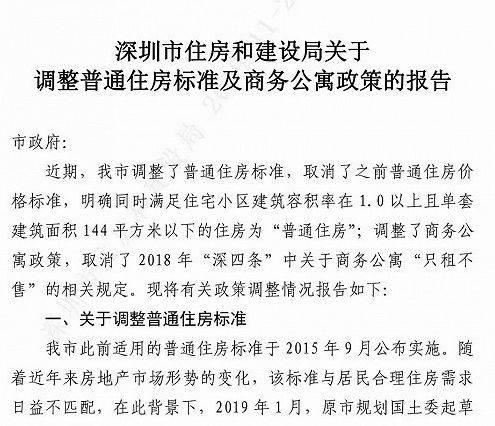 """深圳楼市放大招,取消商务公寓"""""""