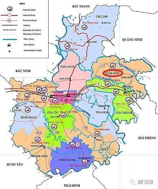 越南海阳省行政区划地图中的荆门市图片